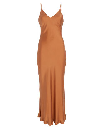 Bias Satin Slip Dress, ORANGE, hi-res