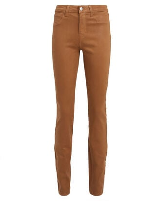 Marguerite Coated Skinny Jeans, BROWN, hi-res