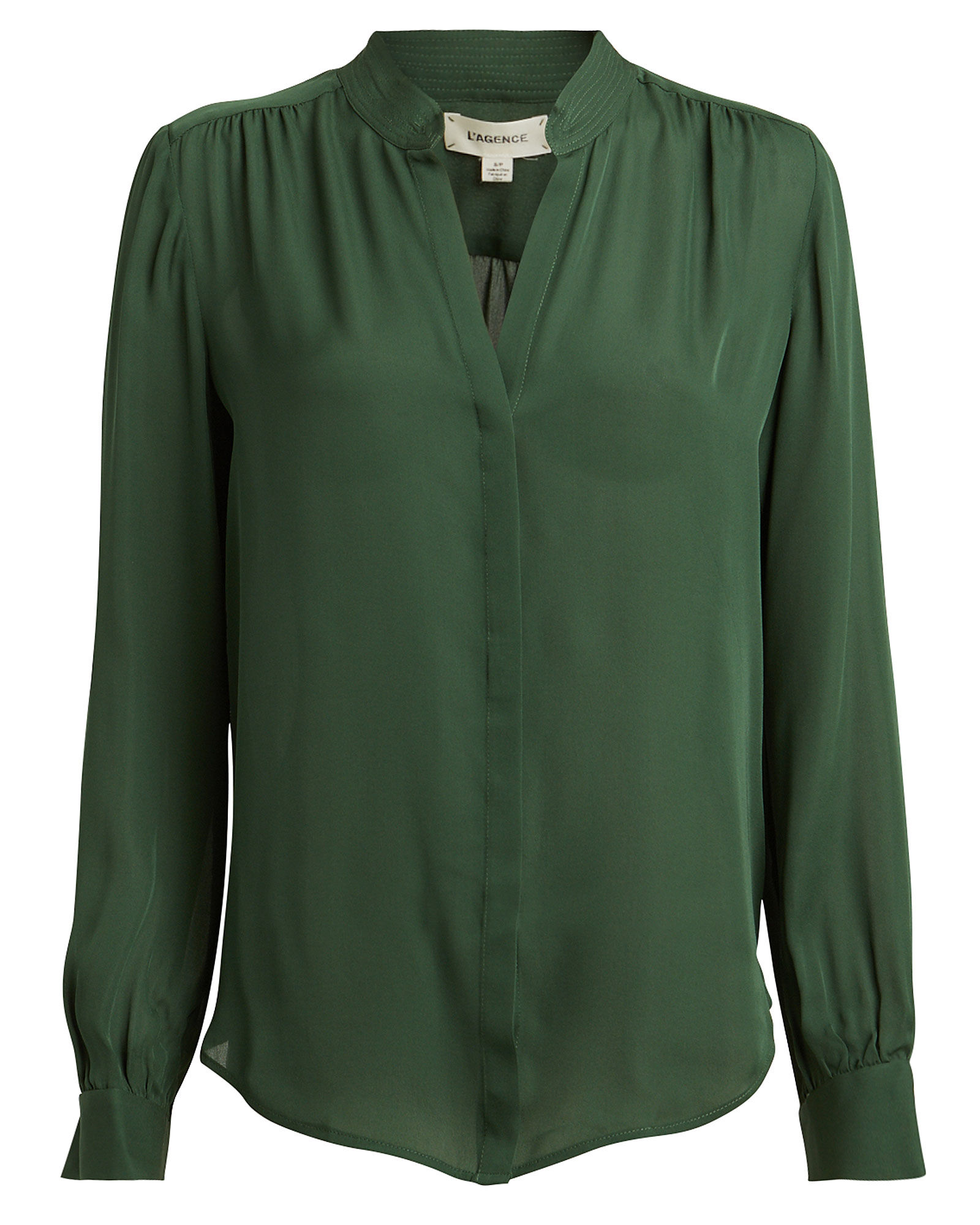 Bianca Silk Button Down Blouse, GREEN, hi-res