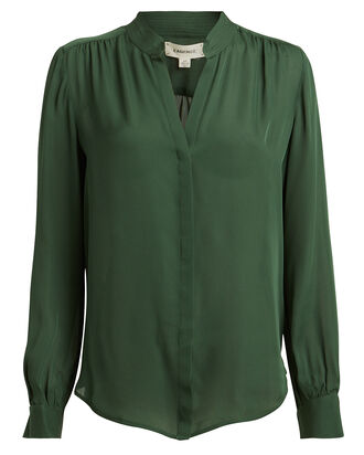 Bianca Silk Button Down Blouse, FOREST GREEN, hi-res