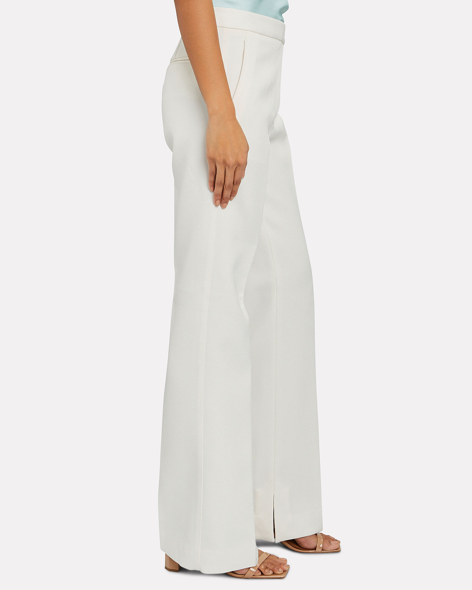 Structured Twill Trousers, IVORY, hi-res