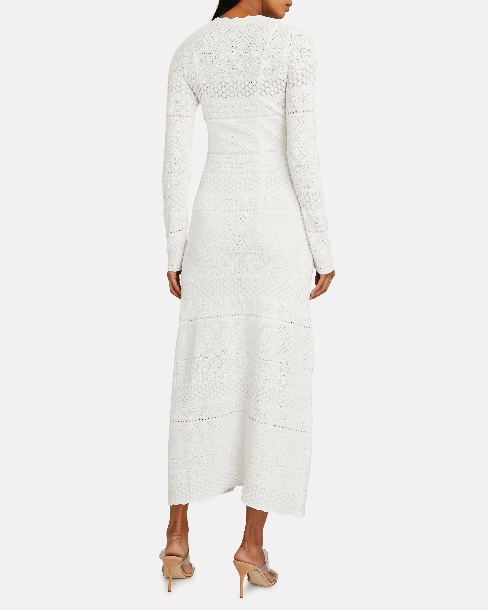 Volta Pointelle Knit Maxi Dress, WHITE, hi-res