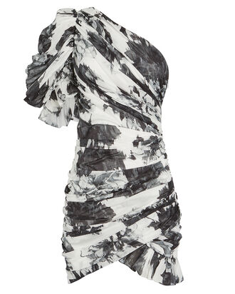 Floral Print One-Shoulder Cotton Dress, BLACK/WHITE FLORAL, hi-res