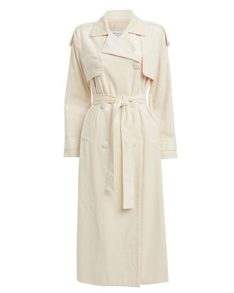Mariella Corduroy Trench Coat, CREAM, hi-res