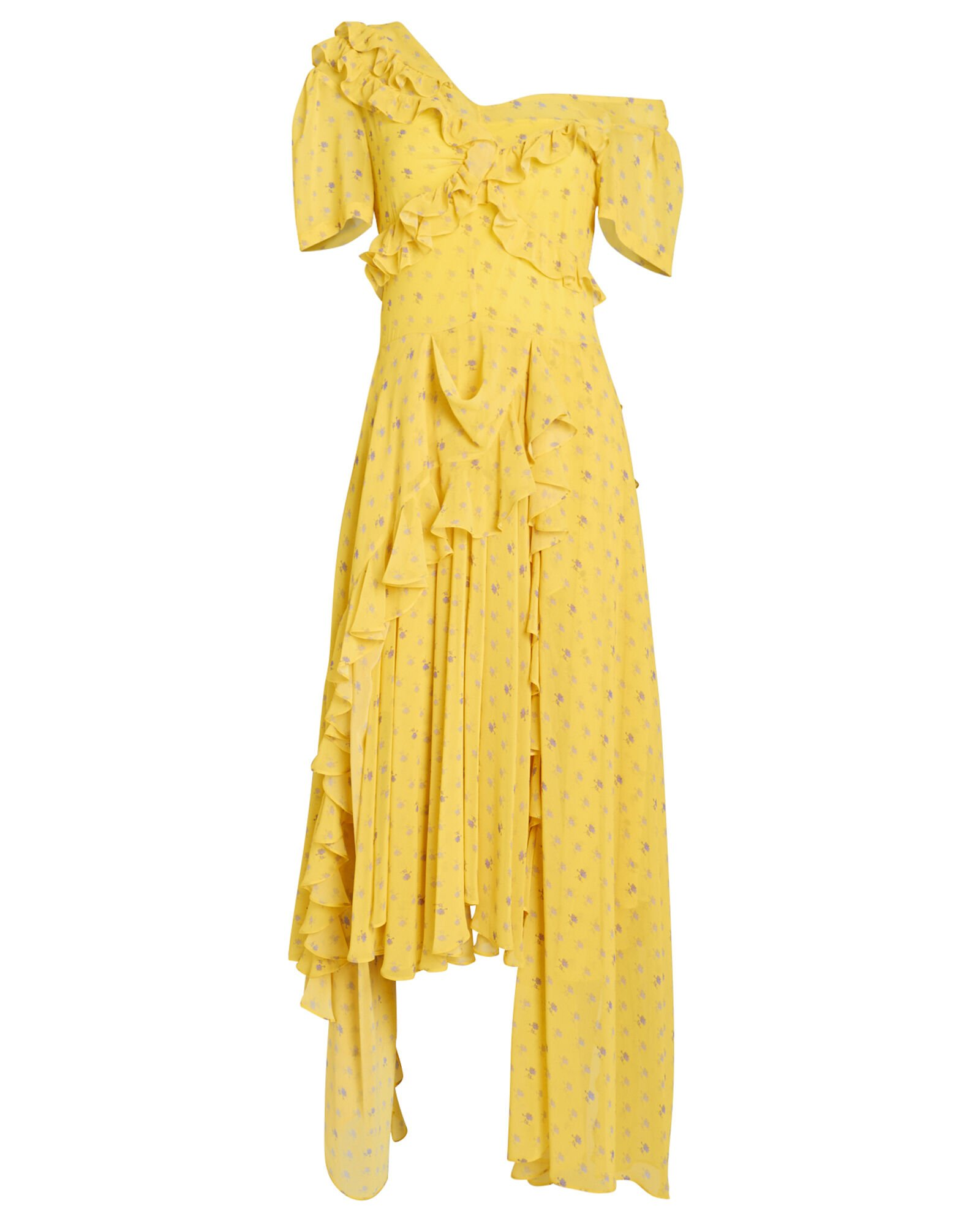 Kennedy Floral Georgette Asymmetric Dress, YELLOW/FLORAL, hi-res