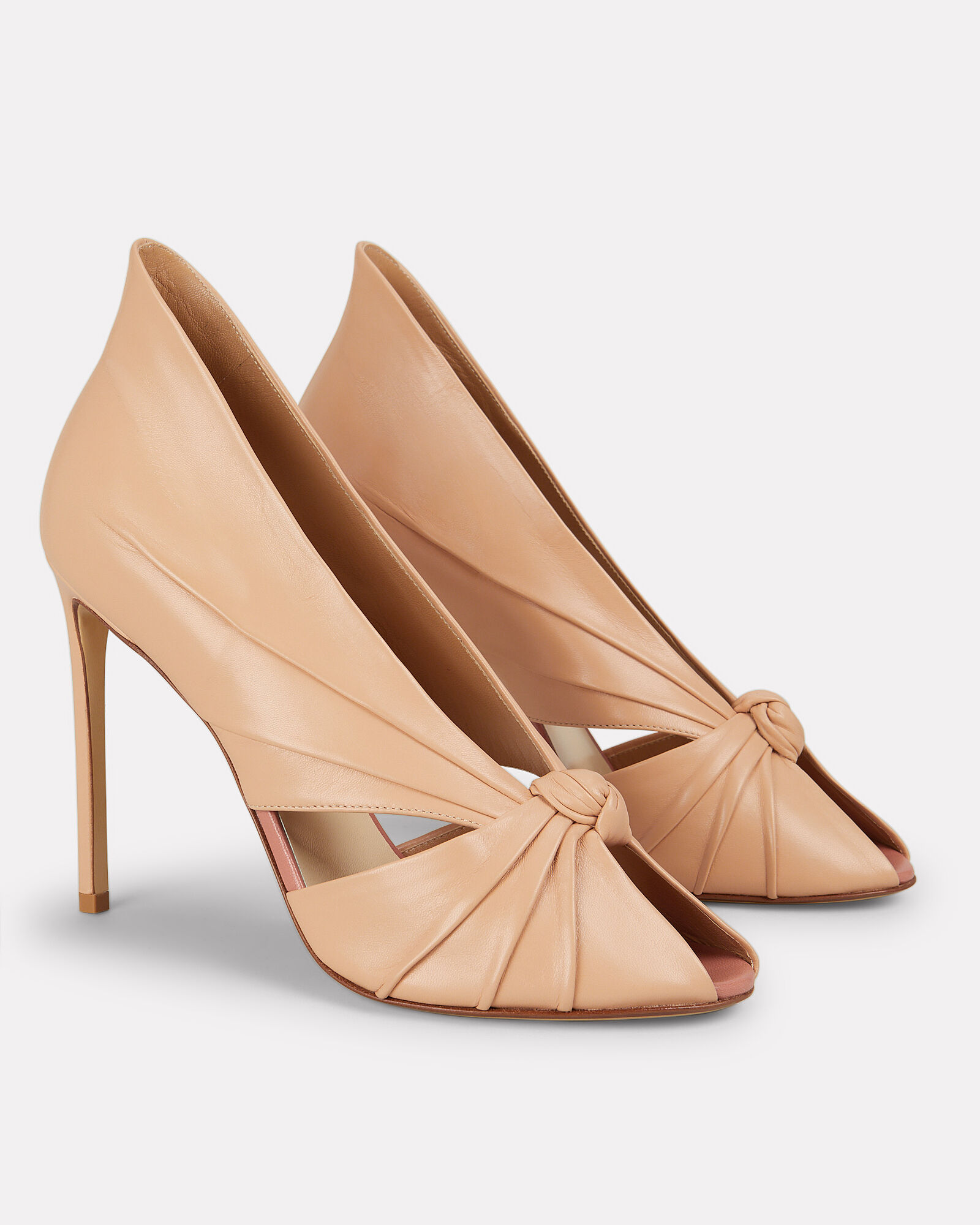 Knotted Point Back Beige Leather Pumps, BEIGE, hi-res