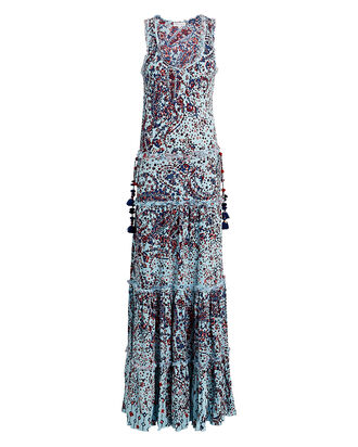 Jena Paneled Paisley Maxi Dress, BLUE/PAISLEY, hi-res