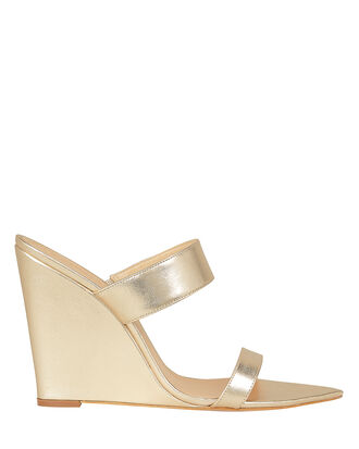 Soraya Gold Leather Wedges, GOLD, hi-res