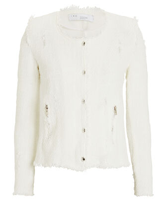 Agnette Tweed Jacket, WHITE, hi-res