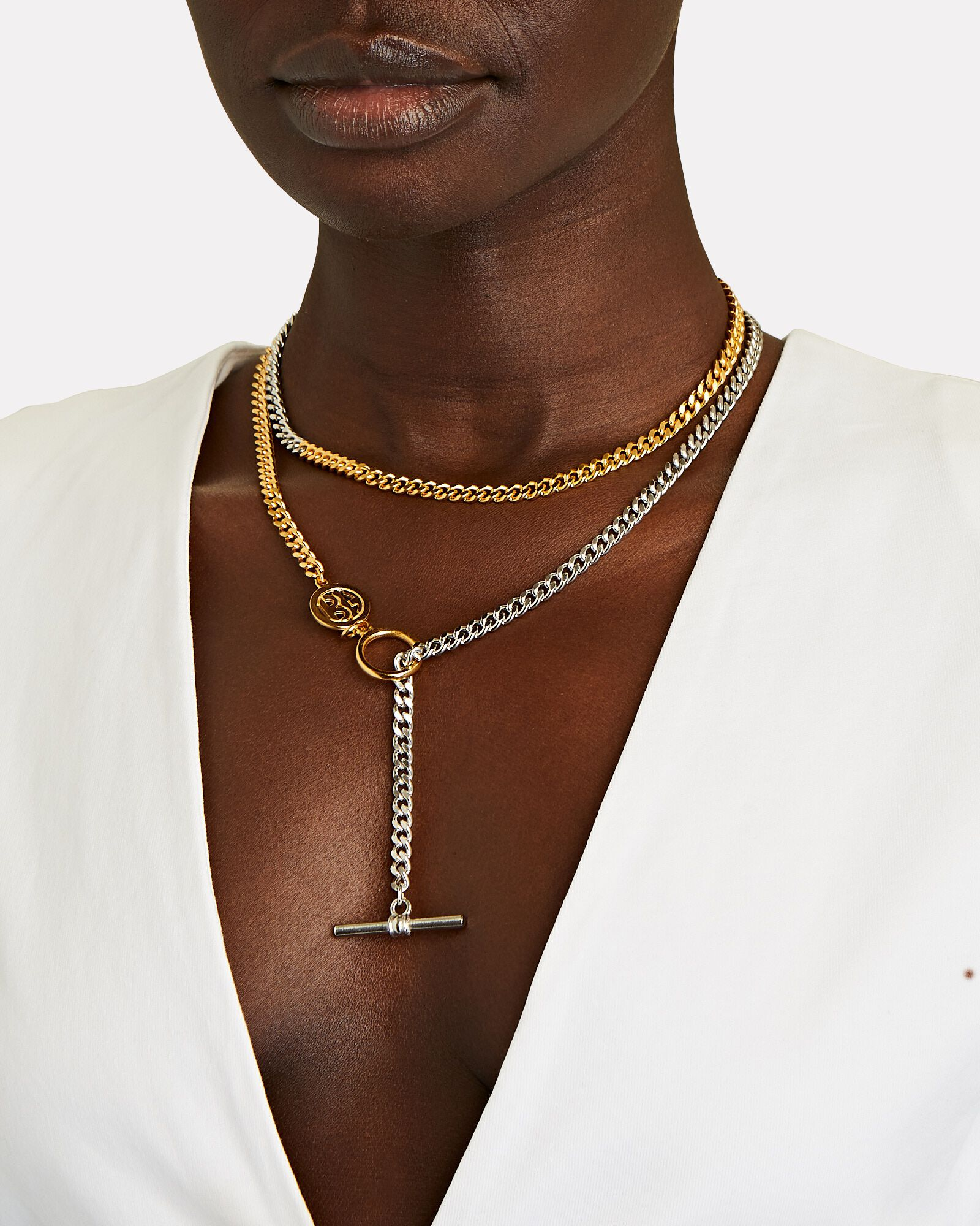 Mixed Metal English Chain Necklace, SILVER/GOLD, hi-res
