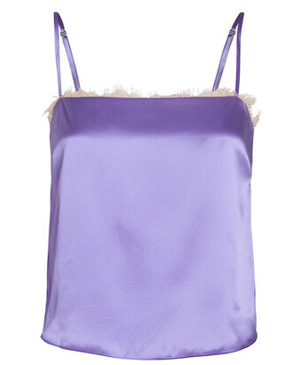 Lace-Trimmed Silk Camisole, PURPLE, hi-res