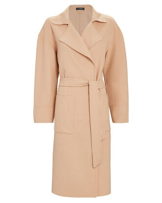 Janette Wool-Blend Wrap Coat, BEIGE, hi-res
