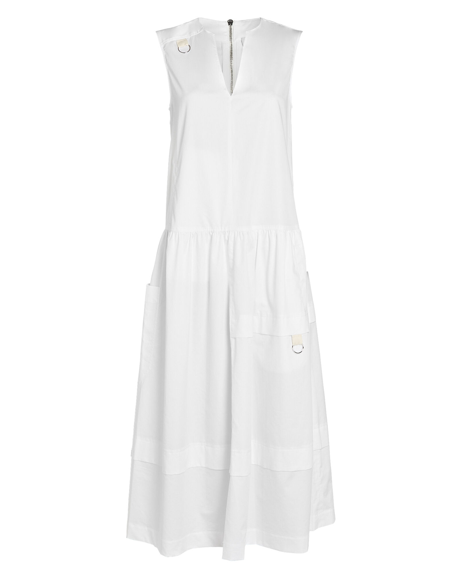Eco Cotton Poplin Midi Dress, WHITE, hi-res