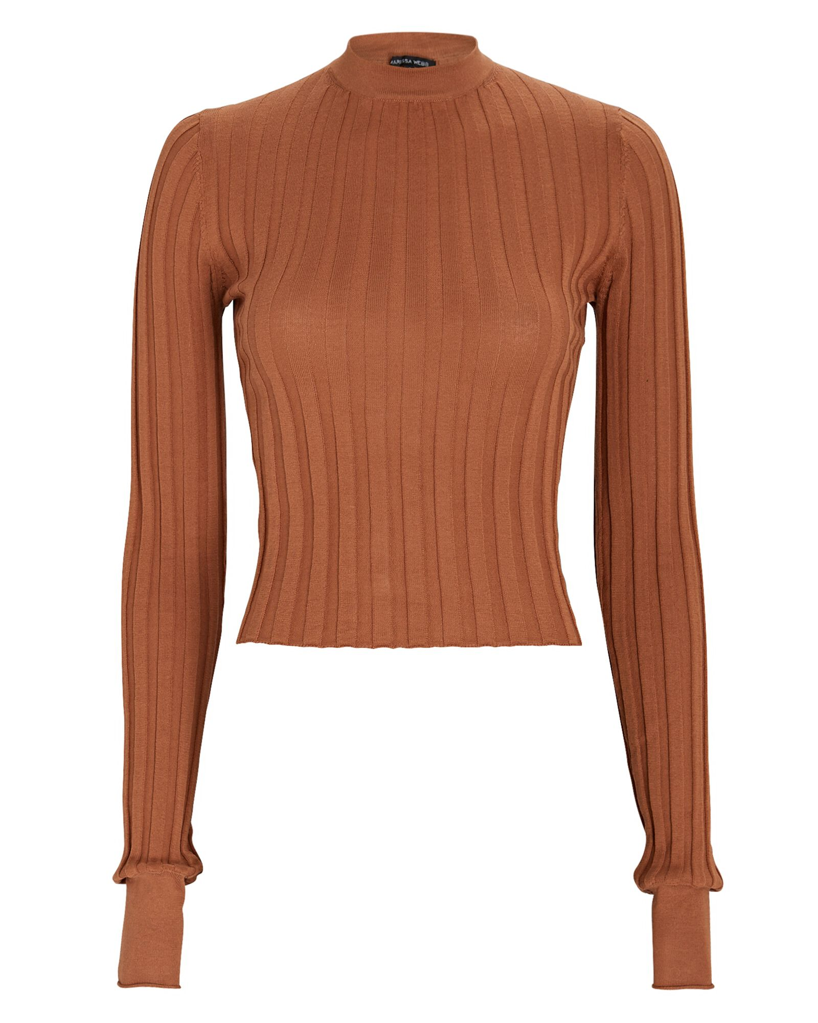 Esme Rib Knit Top, BROWN, hi-res