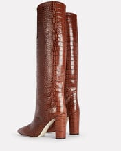 Moc Croco Knee-High Boots, BROWN, hi-res