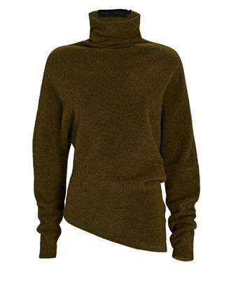 Asymmetrical Turtleneck Sweater, OLIVE/ARMY, hi-res