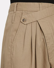 Crossover Pleated Cotton Trousers, KHAKI, hi-res