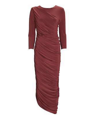 Diana Ruched Long Sleeve Dress, RED, hi-res