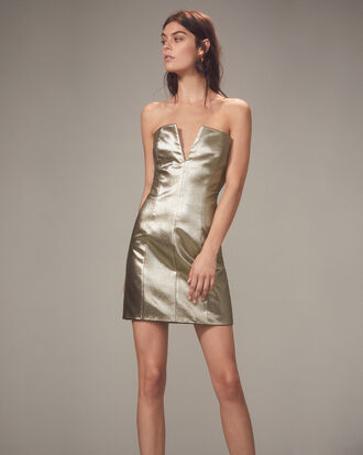 Gold Lamé Strapless Mini Dress, GOLD, hi-res
