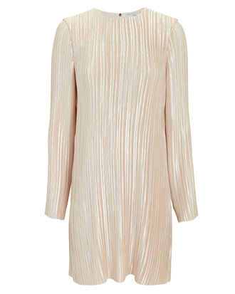Pleated Mini Dress, GOLD, hi-res