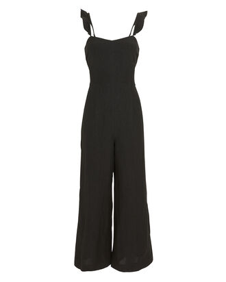 Federica Ruffled Wide Leg Jumpsuit, BLACK, hi-res