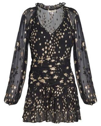 Rina Fil Coupé Mini Dress, BLACK/GOLD, hi-res
