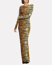 Tiger Striped Stretch Jersey Gown, TIGER STRIPE, hi-res