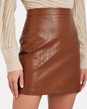 Bertha Croc-Embossed Faux Leather Skirt, COGNAC, hi-res
