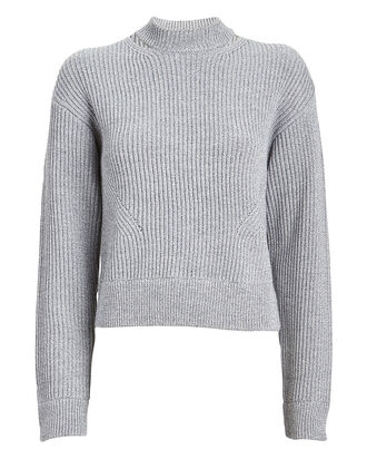 Rib Knit Wool Sweater, GREY, hi-res