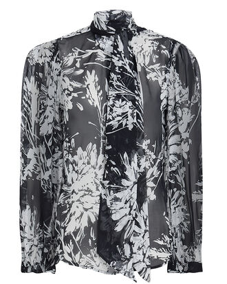 Cleone Sheer Silk Blouse, BLACK/WHITE, hi-res