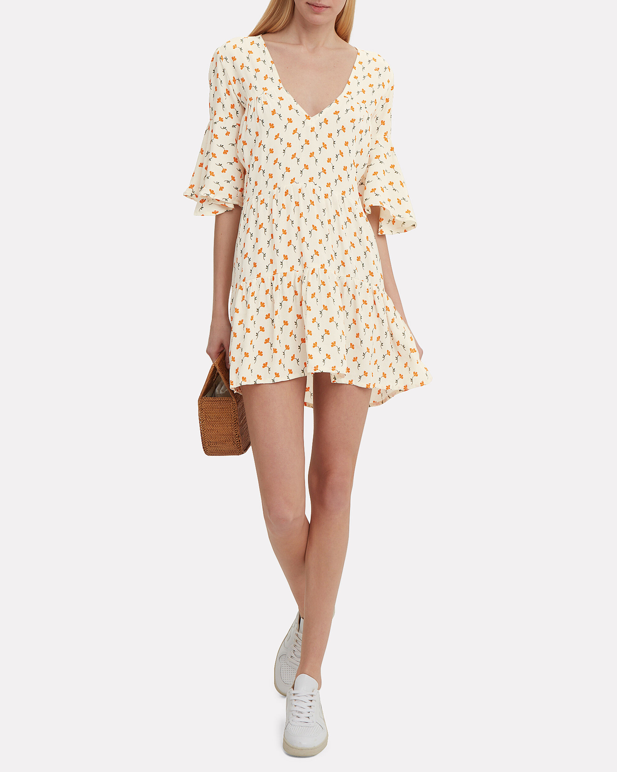 Fresa Mini Dress, IVORY/YELLOW FLORAL, hi-res