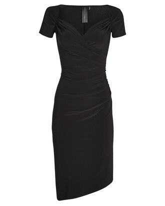Sweetheart Side Draped Dress, BLACK, hi-res