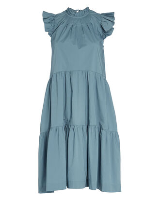 Tabitha Tiered Ruffled Cotton Dress, SLATE BLUE, hi-res