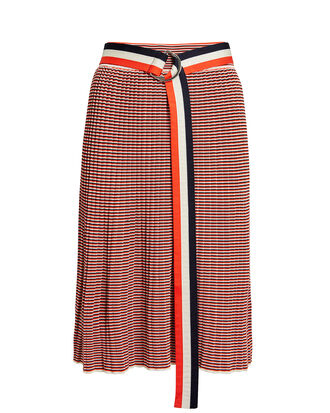 Belted Stripe Knit Skirt, RED/IVORY, hi-res