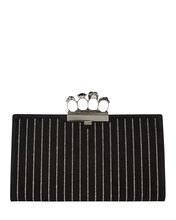 Skull Four Ring Crystal Leather Clutch, BLACK, hi-res