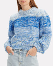Hand Knit Lapis Blue Striped Sweater, BLUE, hi-res