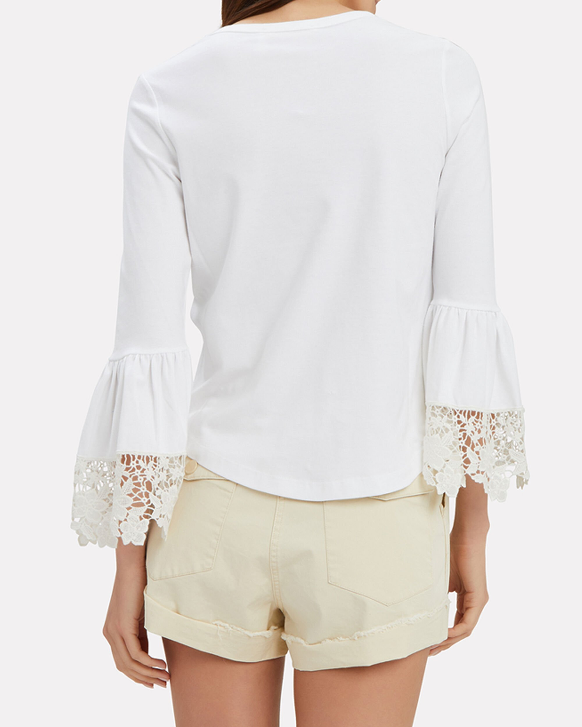 Lace Trim Bell Sleeve Top, WHITE, hi-res