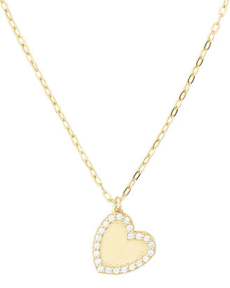 Heart Bezel Pendant Necklace, GOLD, hi-res