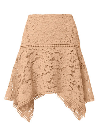 Blush Lace Asymmetrical Hem Skirt, BLUSH/NUDE, hi-res