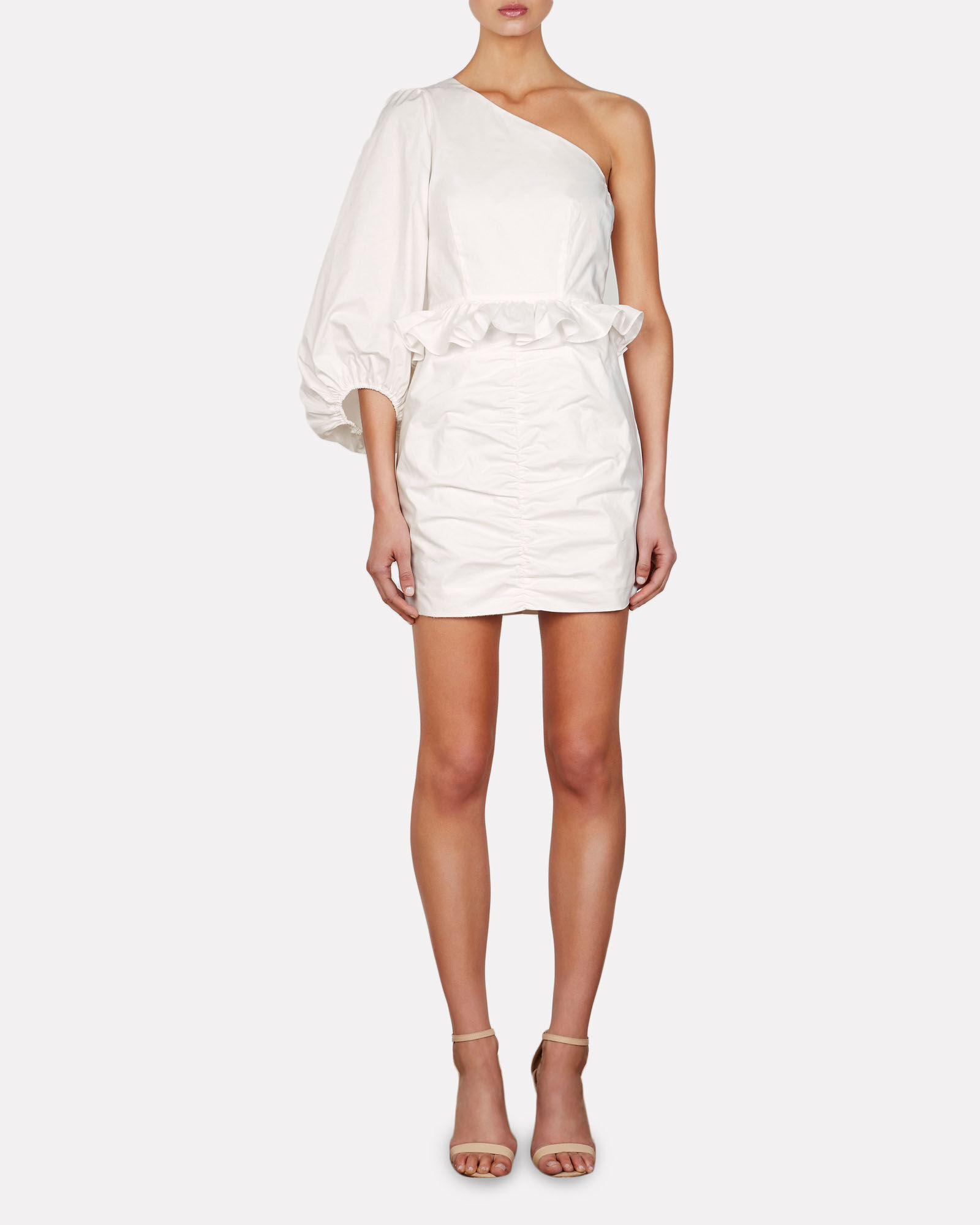 Grant One-Shoulder Mini Dress, WHITE, hi-res