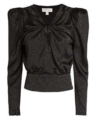 Lynn Satin Jacquard Blouse, BLACK, hi-res