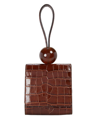 Croc-Embossed Ball Clutch, BROWN, hi-res