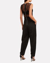 Studded Polka Dot Sleeveless Jumpsuit, BLACK, hi-res