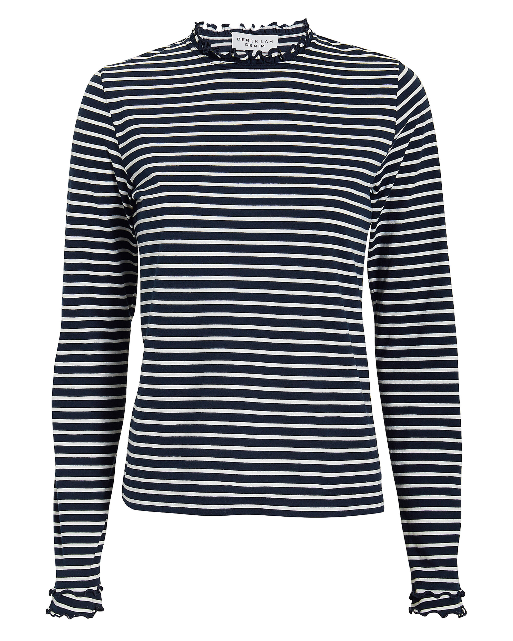 Ruffle Neck Striped Top, NAVY/WHITE, hi-res
