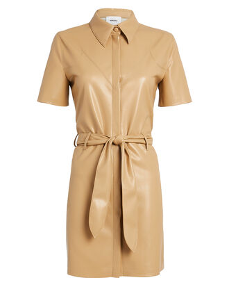 Roberta Vegan Leather Mini Dress, CAMEL, hi-res
