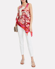 Silk Asymmetrical Scarf Top, PINK, hi-res