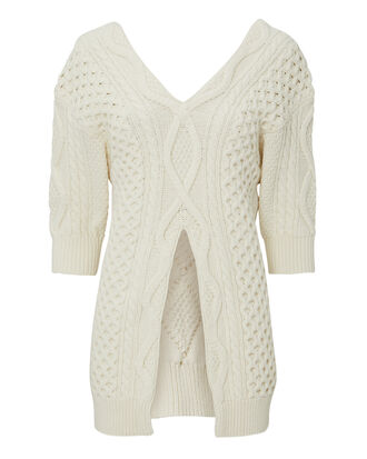 Aran Cable Sweater, IVORY, hi-res