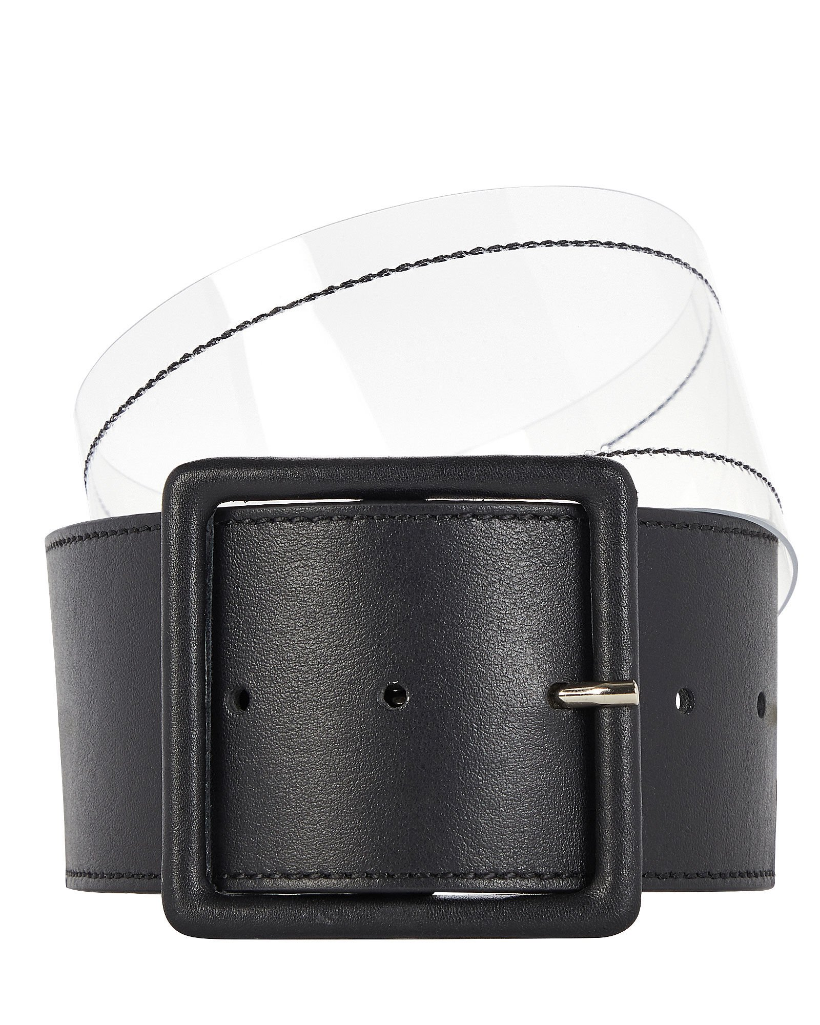 Tinmarie Leather-Trimmed PVC Belt, BLACK, hi-res