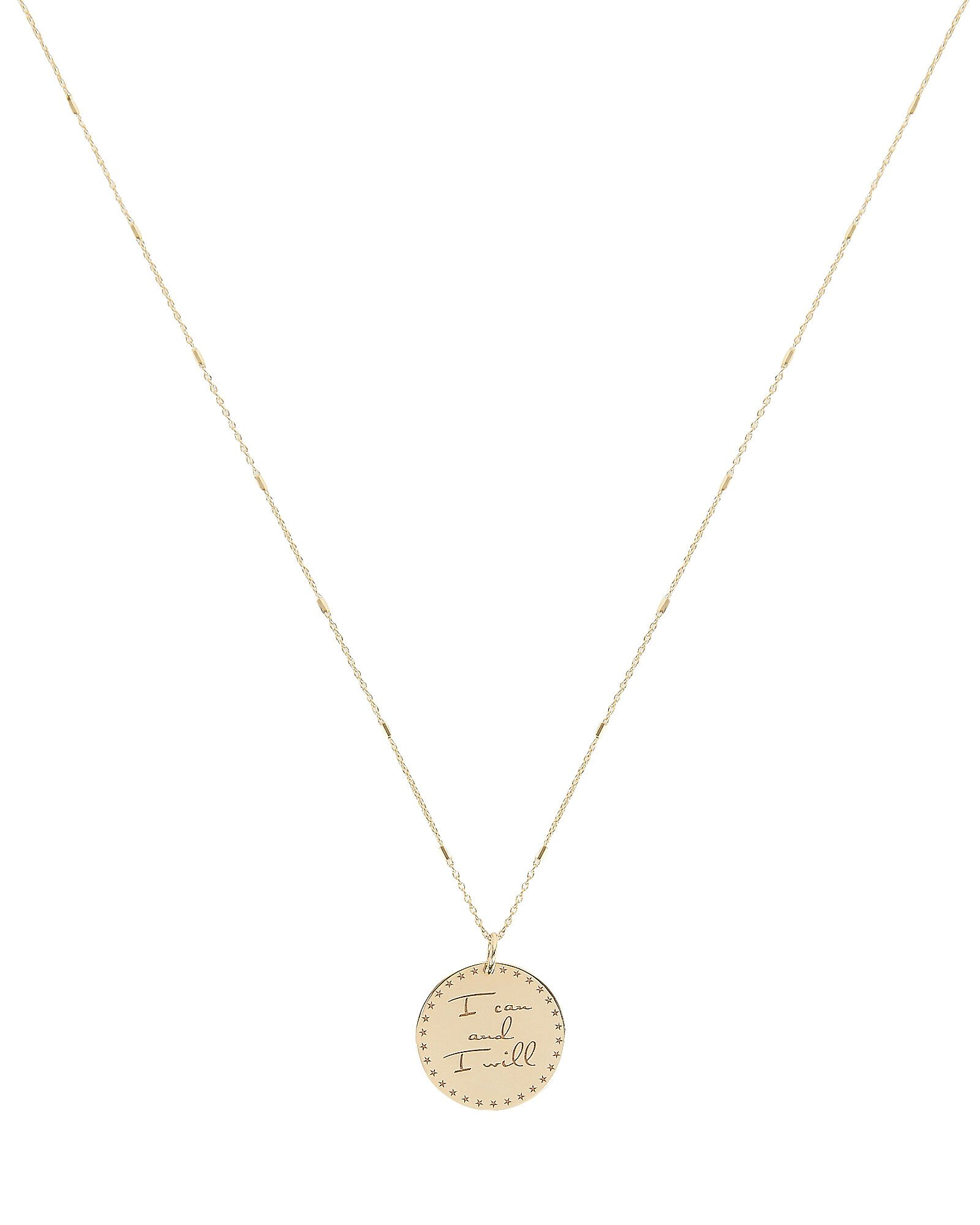 I Can And I Will Mantra Necklace, GOLD, hi-res