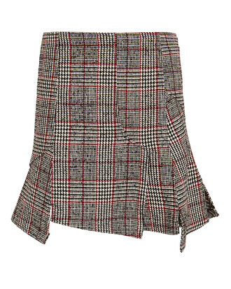 Short Cut Up Zip Skirt, RED/BLACK HOUNDSTOOTH PLAID, hi-res